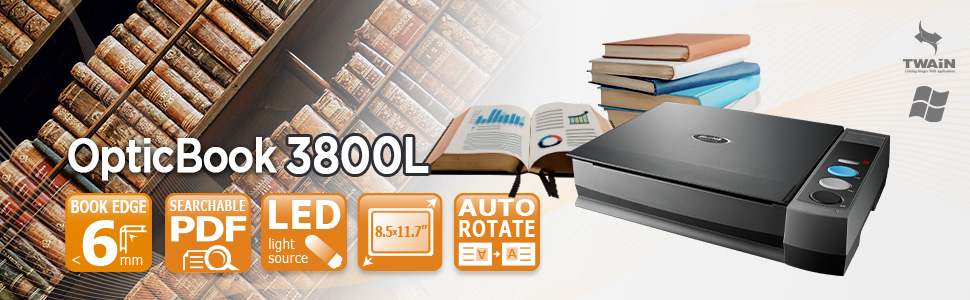 The Plustek OpticBook 3800L with intuitive eBookScan helps you scan your heavy books and bound materials into electronic files.