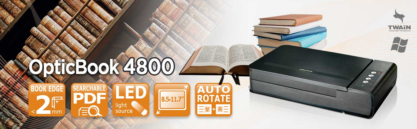 The Plustek OpticBook 4800 with intuitive eBookScan helps you scan your heavy books and bound materials into electronic files.