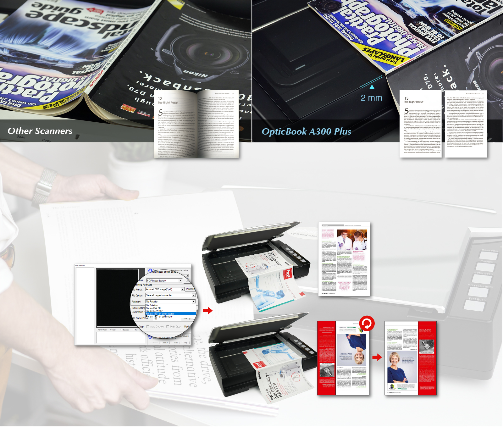 Other scanner may cause shadow,special book edge design,scan your book without manually tapping and rotate