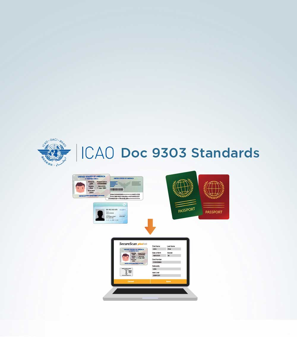 Scanner compliant with ICAO Doc 9303 Standards