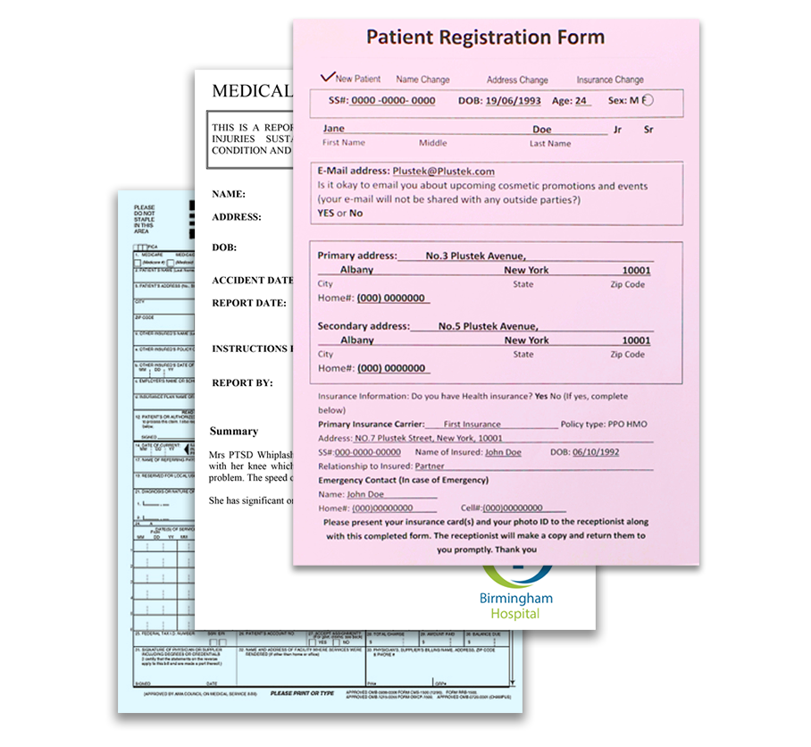 patient registration forms, insurance forms, consent forms and lab reports