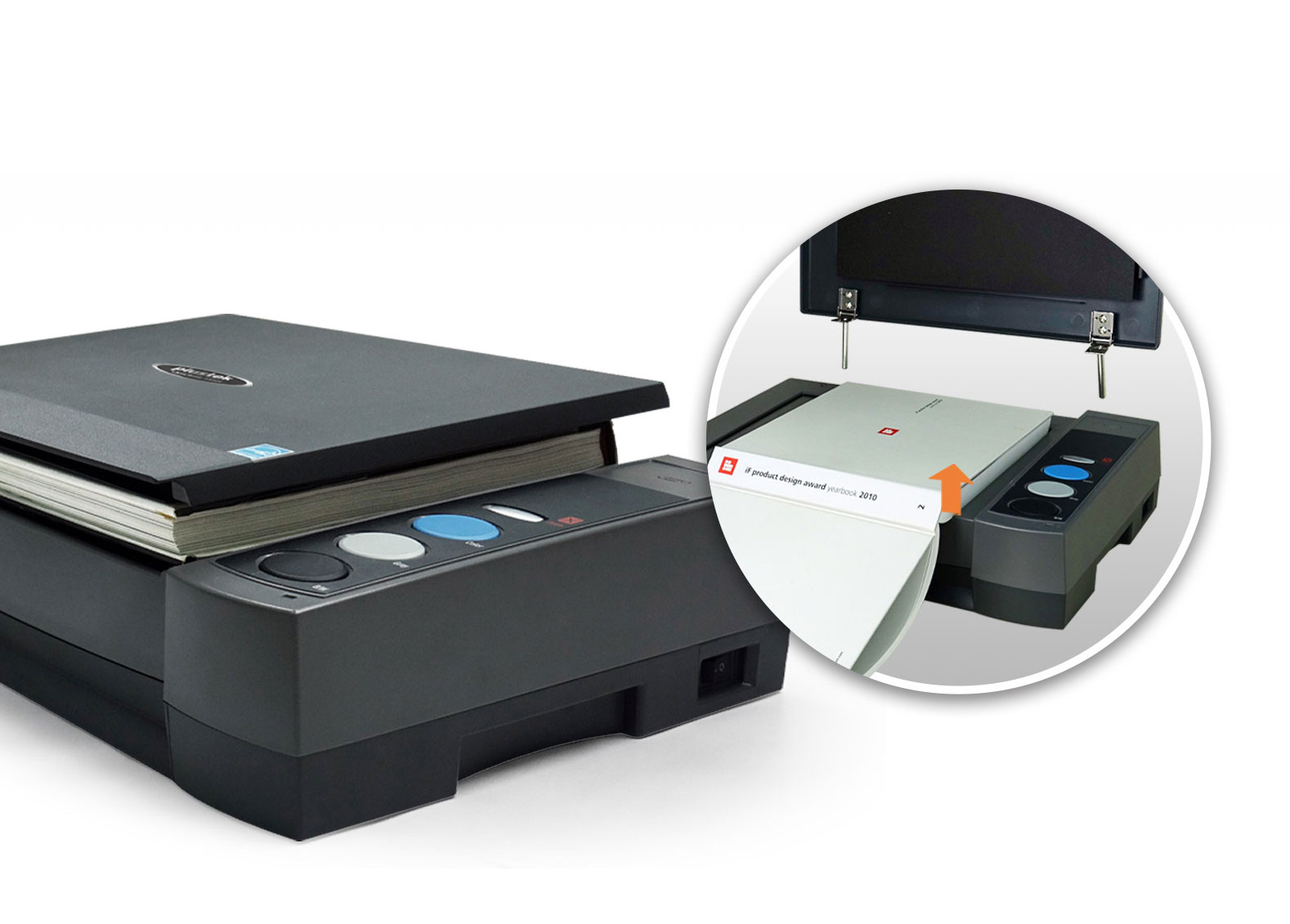 The scanner can hold large book easily with the adjustable cover design