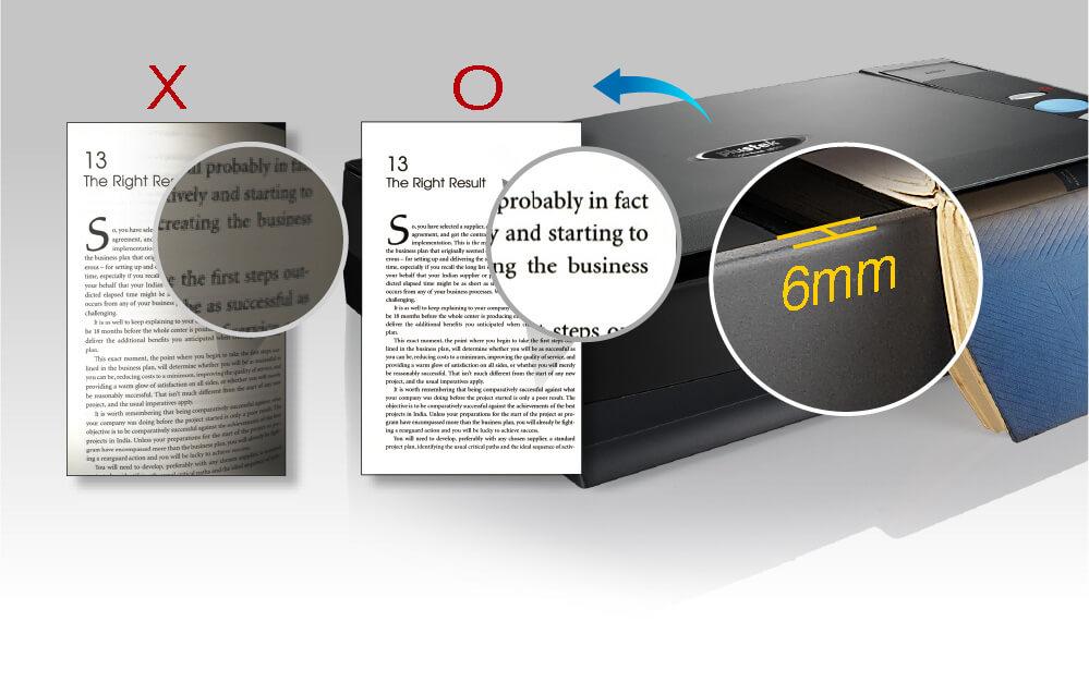 La tecnología SEE de Plustek soluciona los problemas de la distorsión del texto y las sombras producidas por el lomo del libro