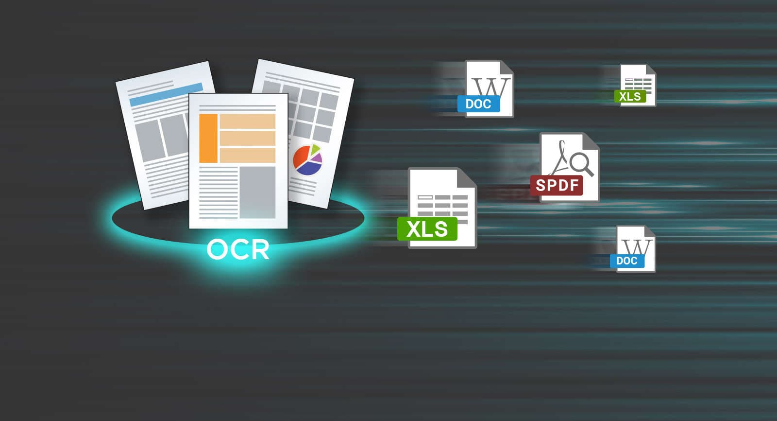 Convert files into Word, searchable PDF or Excel