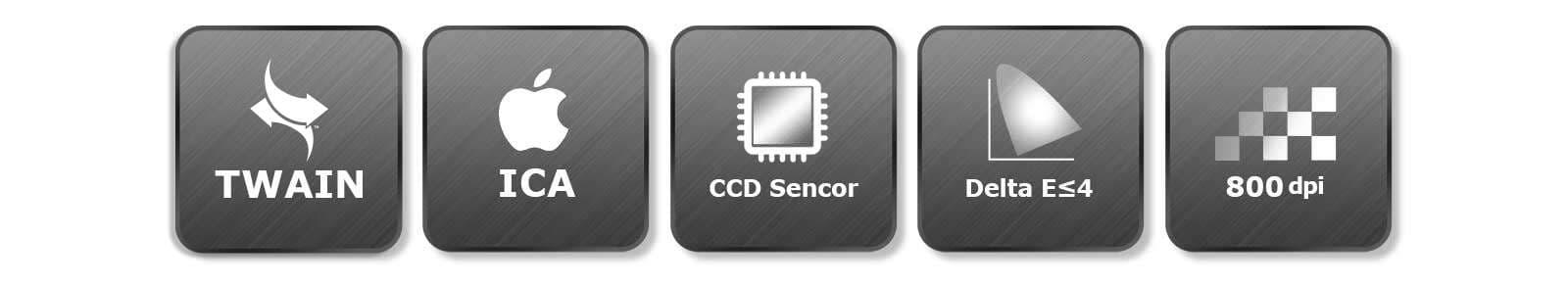 與WIA相容,與ICA相容,配備CCD,高色彩還原-DealtaE,高解析度-800 dpi