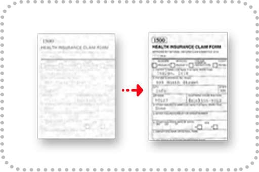 Enhance black text and white background of partially faded characters only for B/W and grayscale document
