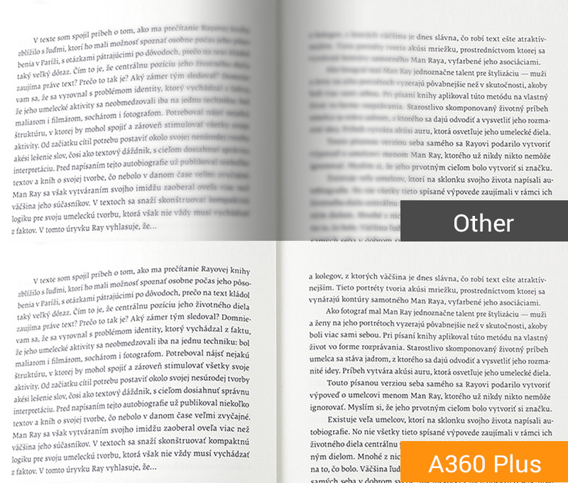 plustek SEE techonology provides clear image within 2mm of the book spine.