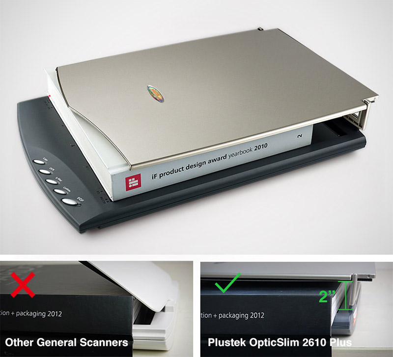 """Large books and document scanning,general scanners,2"""" specially designed hinges"""