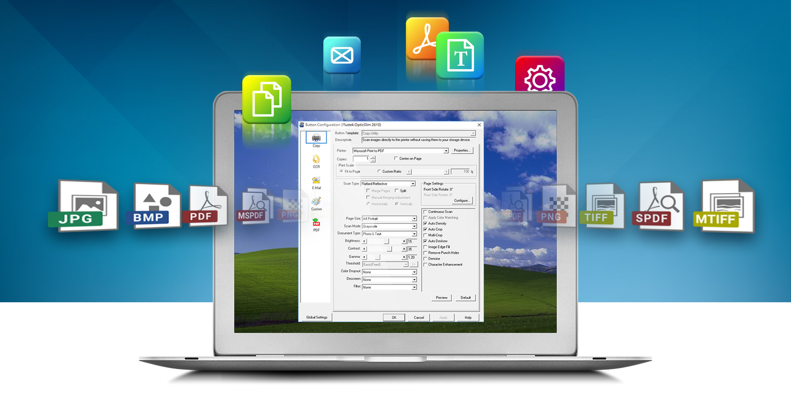 DocAction enables you to specify your personalizd scanning configration setting