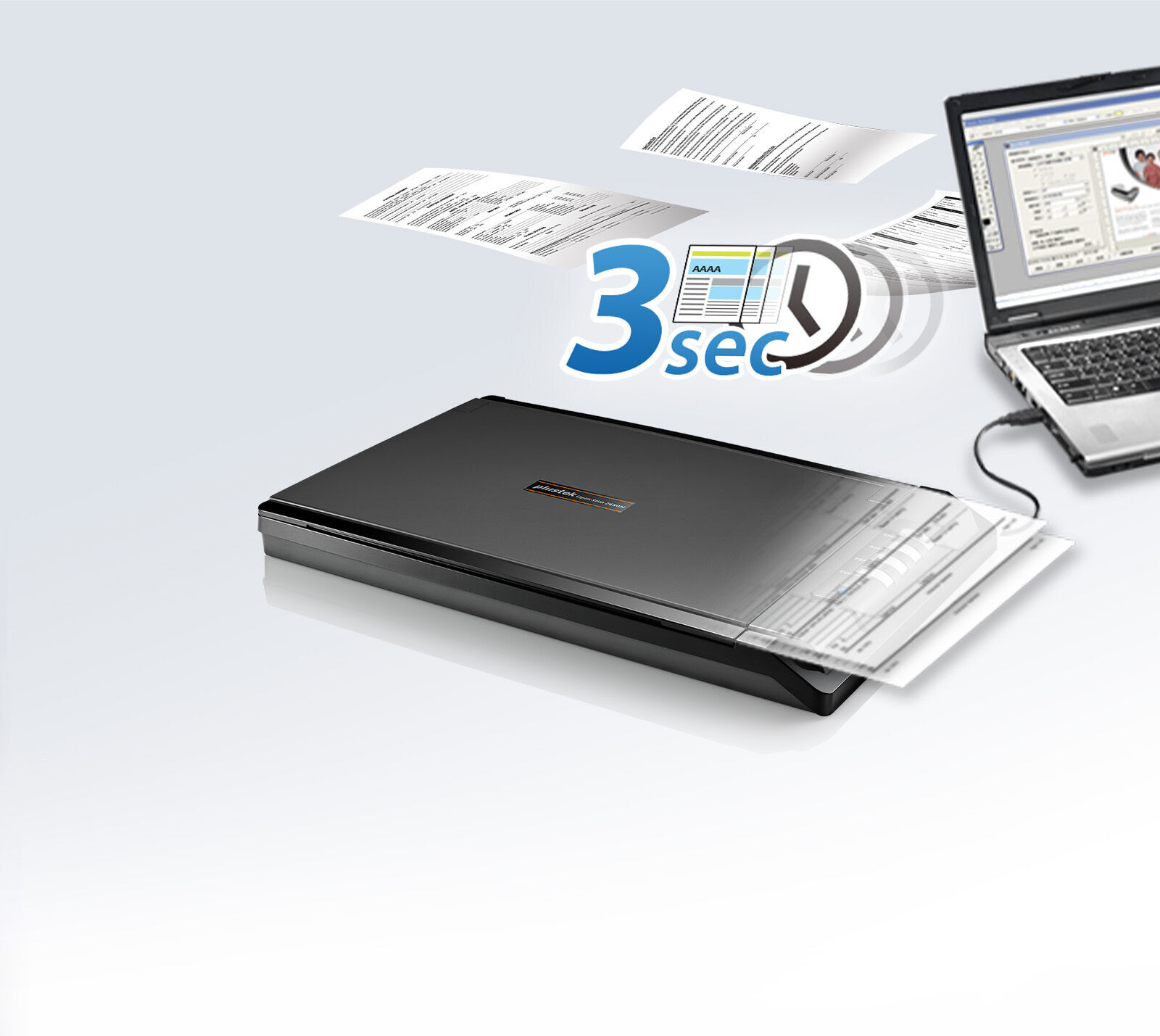 Scans quickly and easily up to 3 seconds.