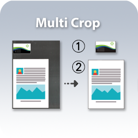 Crop and create multiple images according to the original sizes of the documents in one single scan.