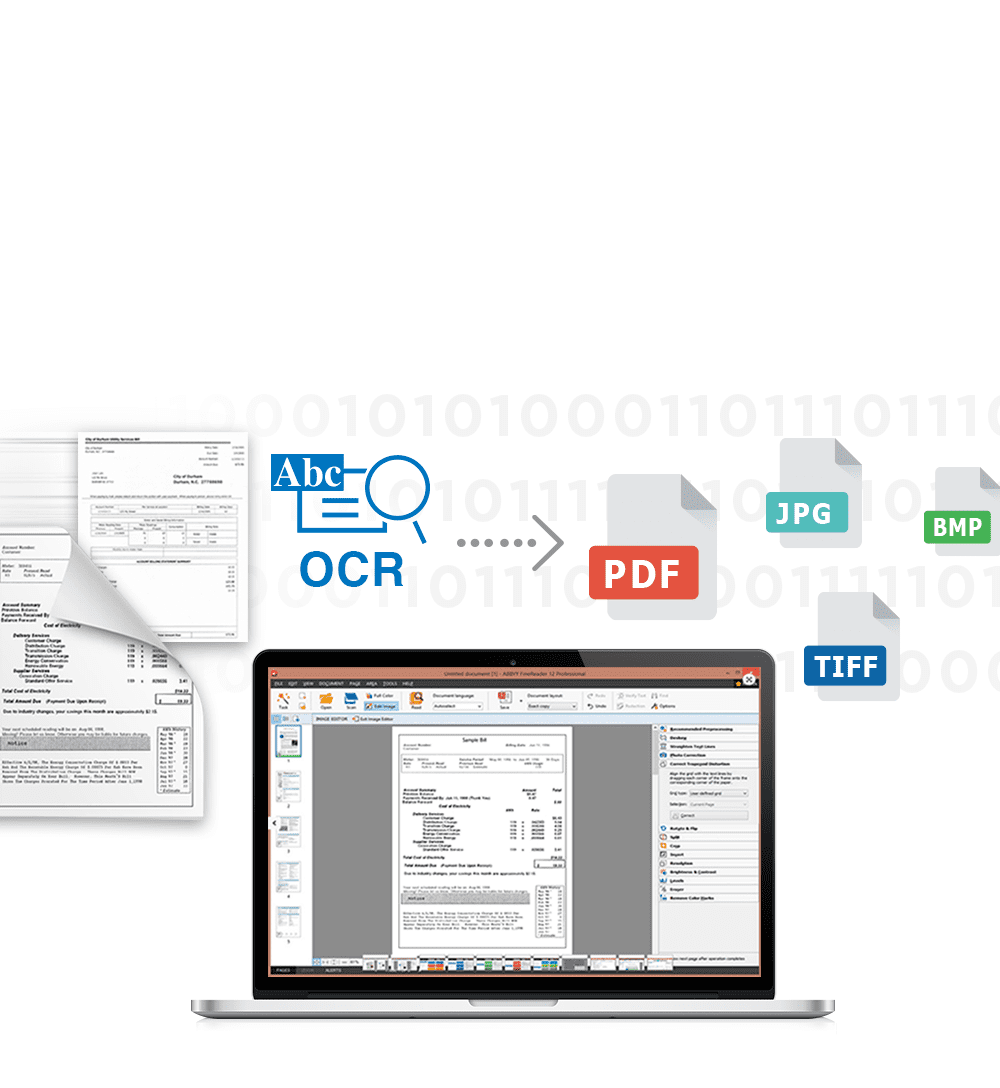 Convert images to text documetns created by the scanner into searchable PDF or PDF image files.