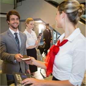 Focus on customs, government agents, reception desk, medical related, financial sectors or customer service front desk.