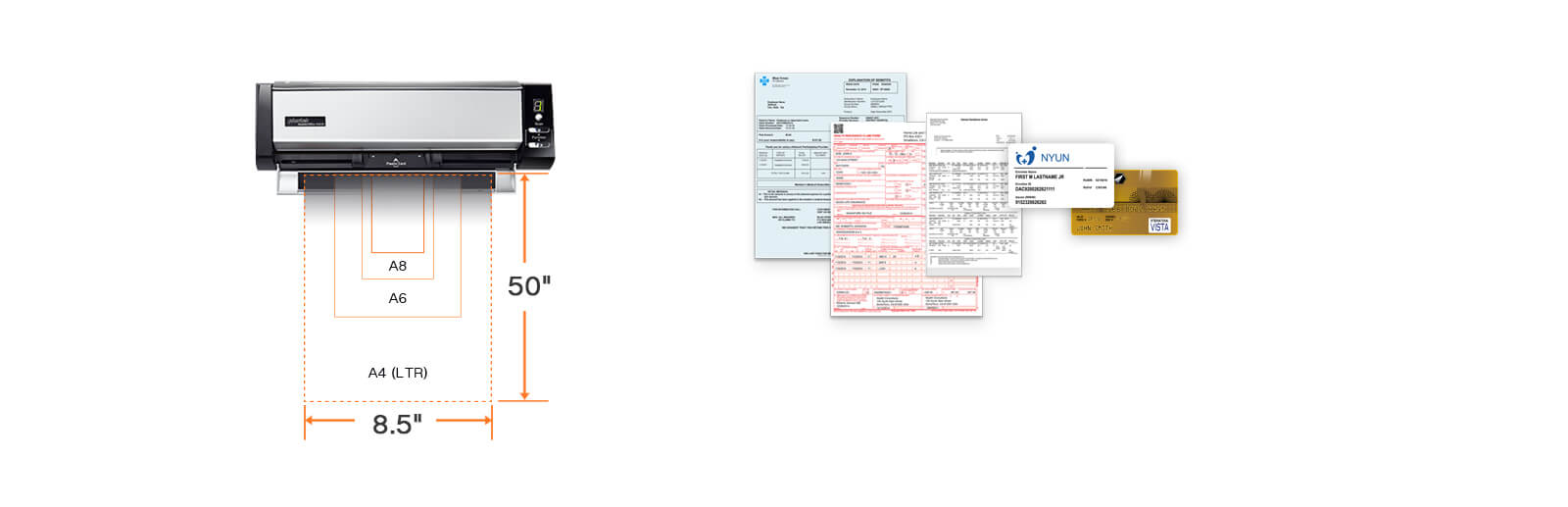 accept from A8 to A4,card scanning and document scanning