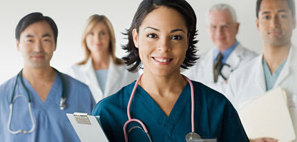 First-aid personals scan patient medical records to provide better service and care.