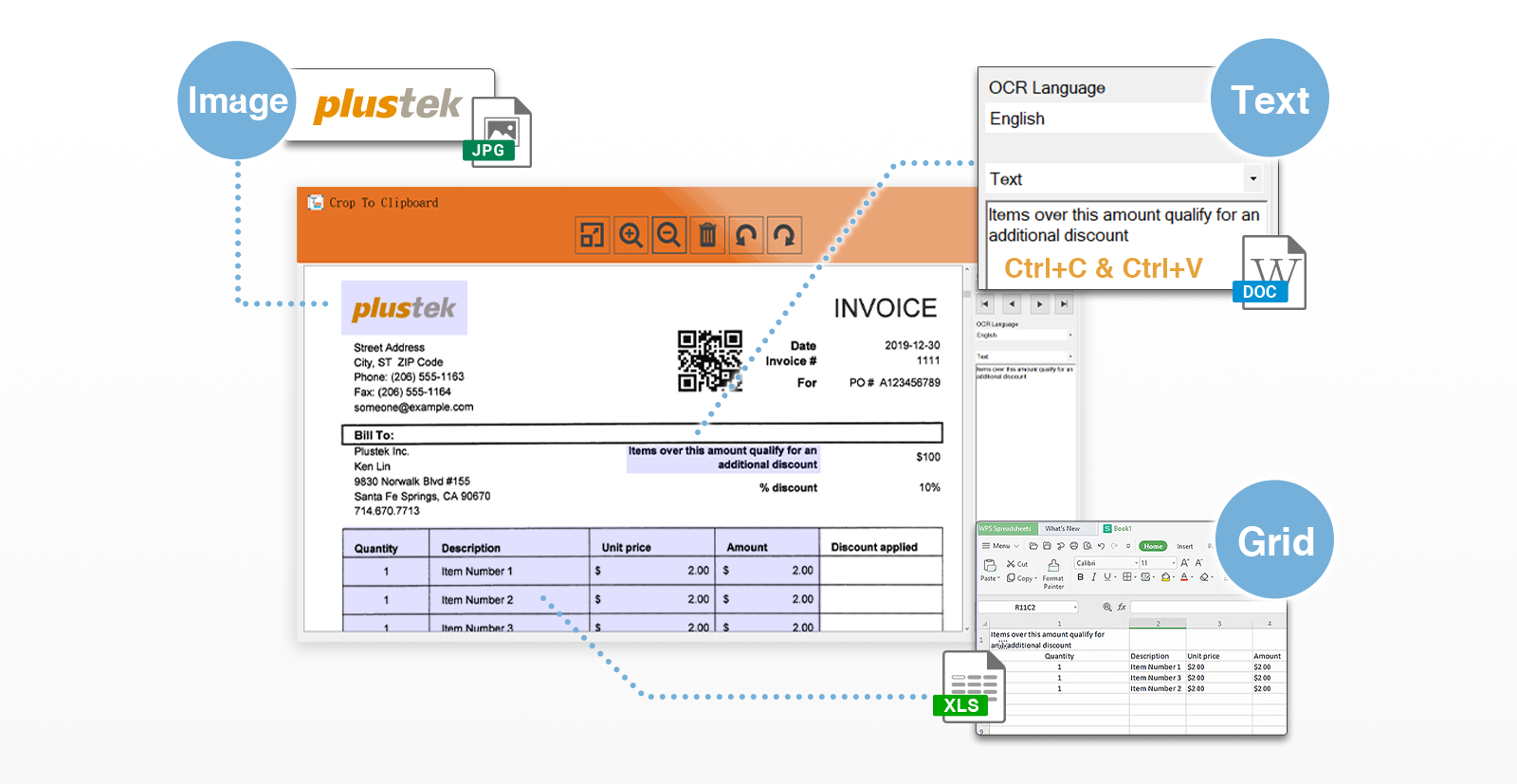 DocAction II embedded with clipboard tool, after you scan the file, you can crop and select the area you want to copy, then paste in other document. We also OCR the text and grid, so that you can edit the data easily