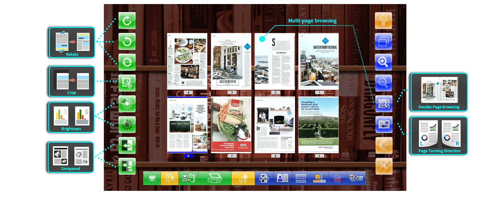 eBookScan Intuitive Interface Instant preview, drag and drop page order.