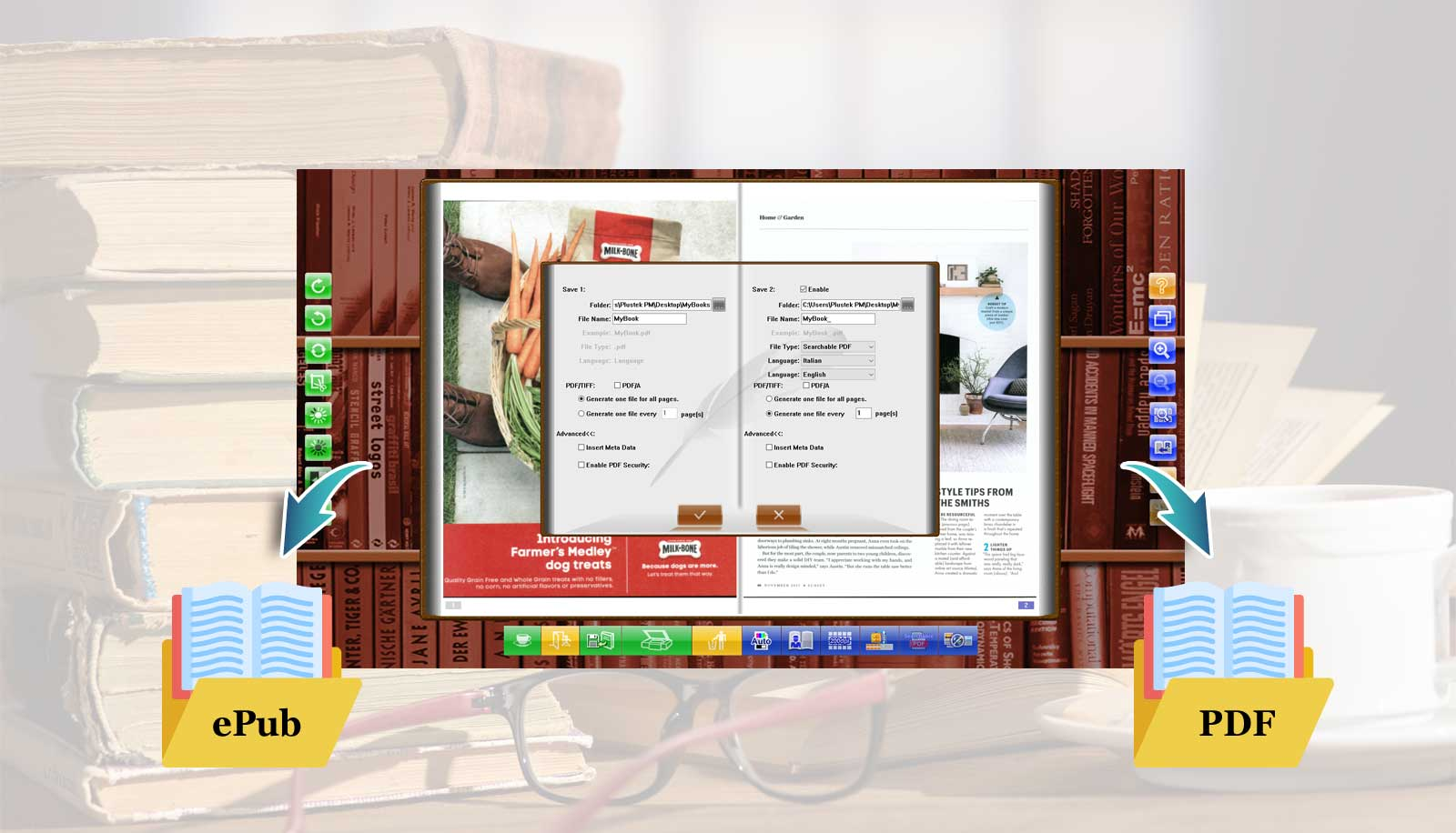 eBookScan can save two different file folders or file formats at the same time.