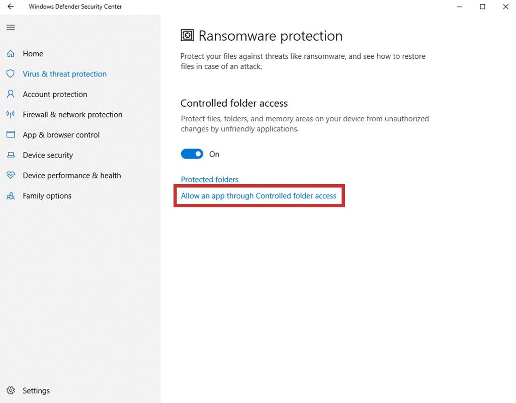 select Allow an app through Controlled folder access