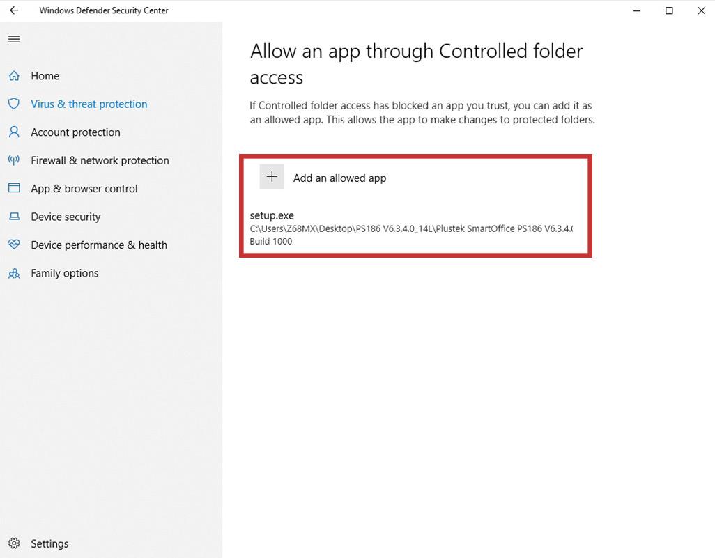 click Add an allowed app-choose DocAction II
