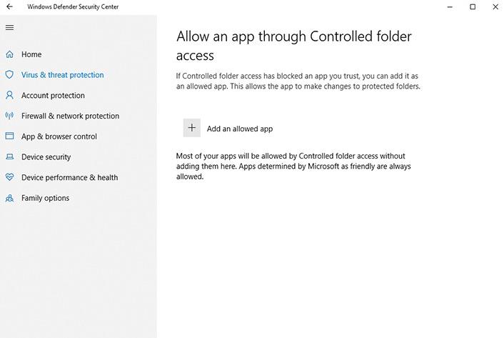 click Add an allowed app-choose scanner driver