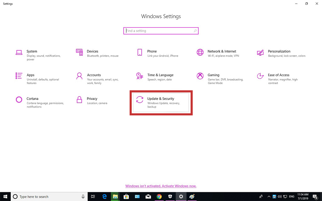 Go to Windows Settings and choose Update & Security