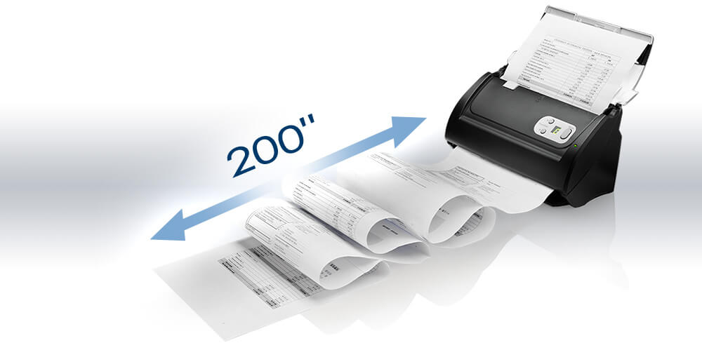 "support double-sided documents scanning up to 200"" without software setup"