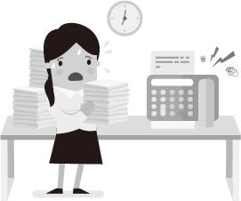 cô ấy luôn về muộn vì phải gửi tài liệu đến các phòng ban khác nhau và công việc fax mất nhiều thời gian